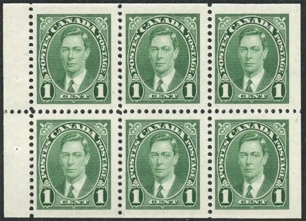 King George VI - 1 cent 1937 - Canadian stamp - 231b - Booklet pane of 6