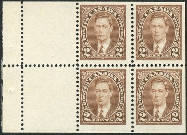 King George VI - 2 cents 1937 - Canadian stamp - 232a - Booklet pane of 4 + 2 labels