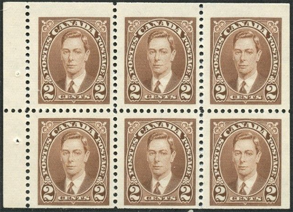 King George VI - 2 cents 1937 - Canadian stamp - 232b - Booklet pane of 6