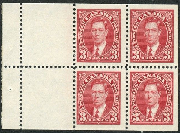 King George VI - 3 cents 1937 - Canadian stamp - 233a - Booklet pane of 4 + 2 labels