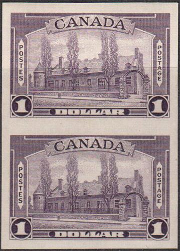 Château de Ramezay - 1 dollar 1938 - Canadian stamp - 245a - Vertical pair - Imperforate