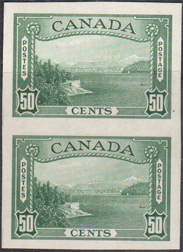 Vancouver Harbour - 50 cents 1938 - Canadian stamp - 244a - Vertical pair - Imperforate