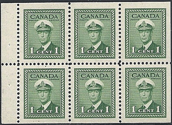 King George VI - 1 cent 1942 - Canadian stamp - 249b -  Booklet pane of 6