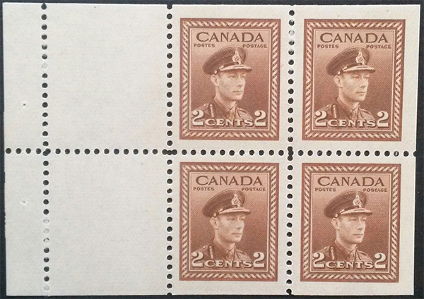 King George VI - 2 cents 1942 - Canadian stamp - 250a - Booklet of 4 stamps + 2 labels