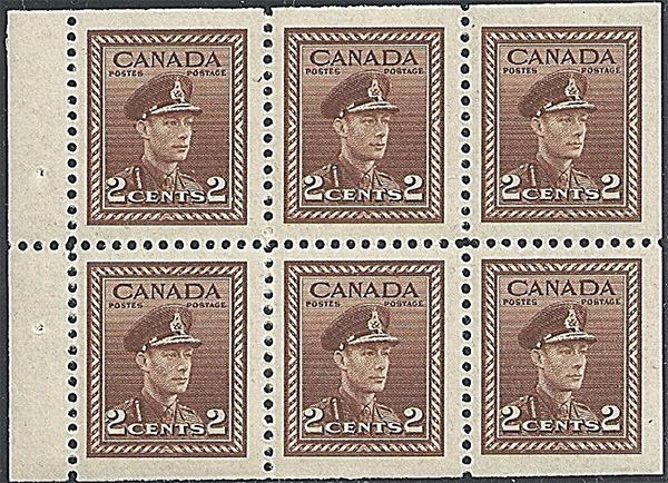 King George VI - 2 cents 1942 - Canadian stamp - 250b -  Booklet pane of 6