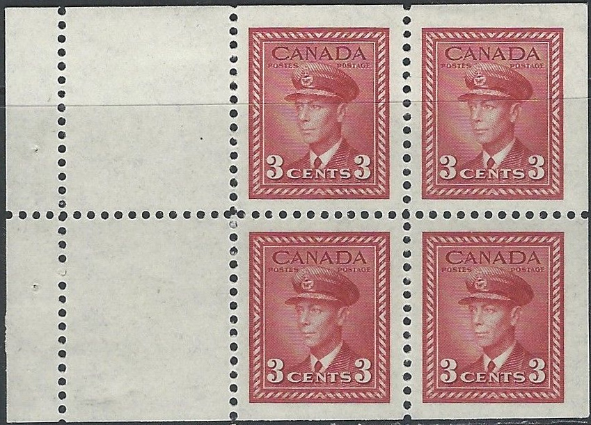 King George VI - 3 cents 1942 - Canadian stamp - 251a - Booklet of 4 stamps + 2 labels