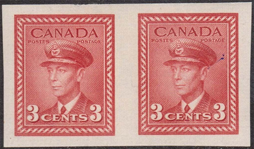 King George VI - 3 cents 1942 - Canadian stamp - 251b - Imperforate Pair