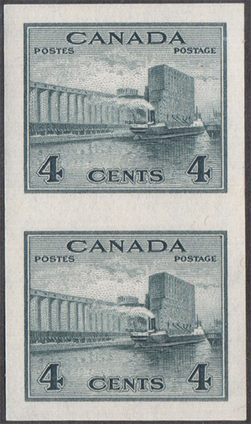 Grain Elevator - 4 cents 1942 - Canadian stamp - 253a - Imperforate Pair