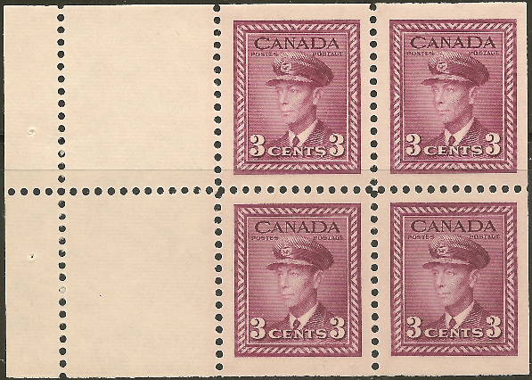King George VI - 3 cents 1943 - Canadian stamp - 252a - Booklet of 4 stamps + 2 labels