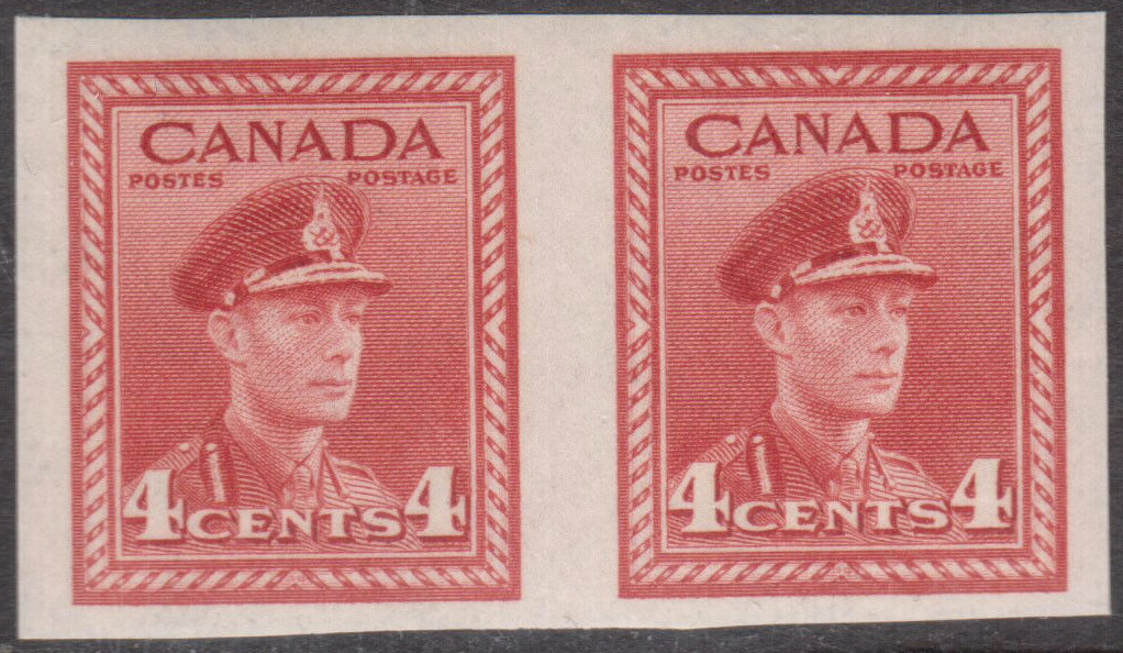 King George VI - 4 cents 1943 - Canadian stamp  - 254c - Imperforate Pair