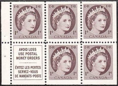 Queen Elizabeth II - 1 cent 1954 - Canadian stamp - 337a - Booklet pane of 5 + label