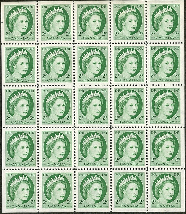 Queen Elizabeth II - 2 cents 1954 - Canadian stamp - 338a - Miniature pane of 25