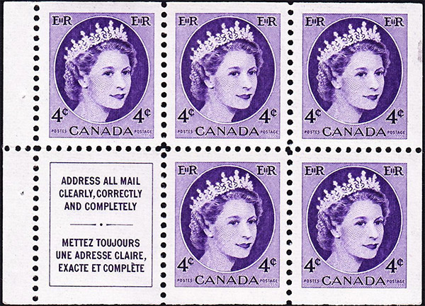 Queen Elizabeth II - 4 cents 1954 - Canadian stamp - 340a - Booklet pane of 5 + label
