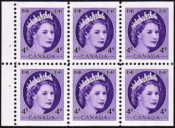 Queen Elizabeth II - 4 cents 1954 - Canadian stamp - 340b - Booklet pane of 6