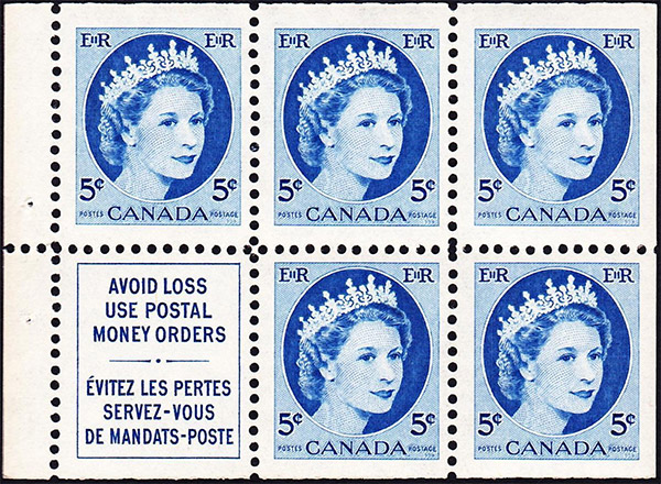 Queen Elizabeth II - 5 cents 1954 - Canadian stamp - 341a - Booklet pane of 6