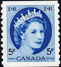 1954 - Queen Elizabeth II - Canadian stamp - Stamps of Canada
