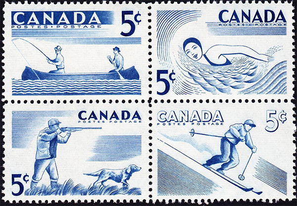 Skiing - 5 cents 1957 - Canadian stamp - 368a - Block of 4 - 365 to 368