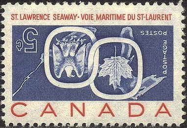 Voie maritime du Saint-Laurent - 5 cents 1959 - Centre inversé