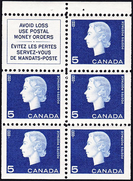 Queen Elizabeth II - 5 cents 1962 - Canadian stamp - 405a - Booklet pane of 5 + label