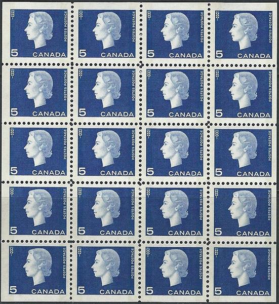Queen Elizabeth II - 5 cents 1962 - Canadian stamp - 405b - Miniature pane of 20