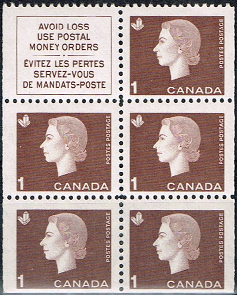 Queen Elizabeth II - 1 cent 1963 - Canadian stamp - 401a - Booklet pane of 5 + label