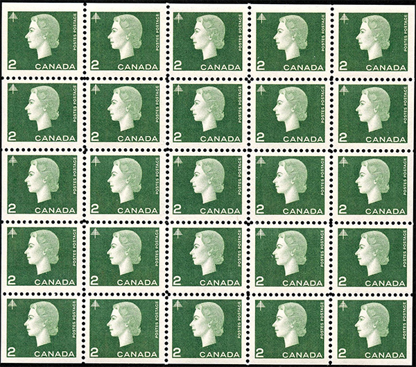 Queen Elizabeth II - 2 cents 1963 - Canadian stamp - 402a - Miniature pane of 25