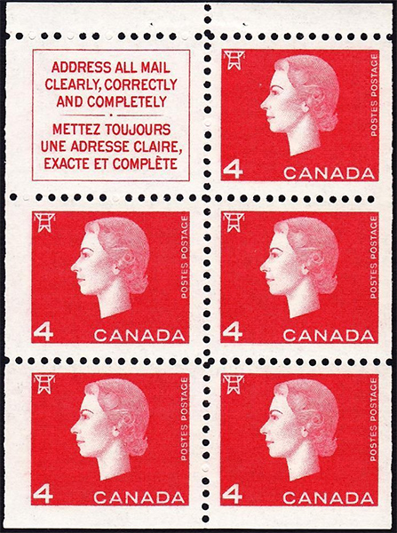 Queen Elizabeth II - 4 cents 1963 - Canadian stamp - 404a - Booklet pane of 5 + label