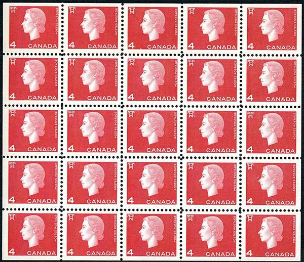 Queen Elizabeth II - 4 cents 1963 - Canadian stamp - 404b - Miniature pane of 25