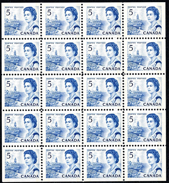 Queen Elizabeth II, Atlantic Coast - 5 cents 1967 - Canadian stamp - 458b - Booklet pane of 20
