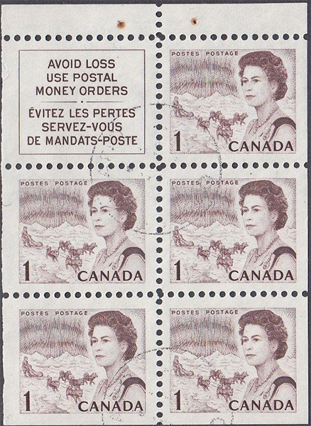 1967 - Queen Elizabeth II, Northern Regions - 1 cent 1967 - Canadian stamp - 454a - Booklet pane of 5 + label