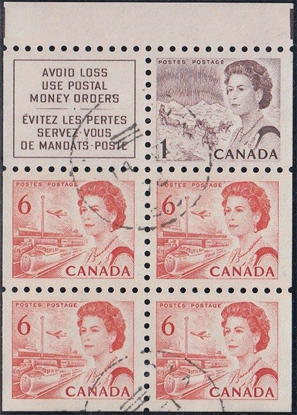 1967 - Queen Elizabeth II, Northern Regions - 1 cent 1967 - Canadian stamp - 454b - Booklet pane of 5 + 5x4 cents