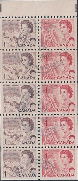 1967 - Queen Elizabeth II, Northern Regions - 1 cent 1967 - Canadian stamp - 454c - Booklet pane of 5 + 5x4 cents