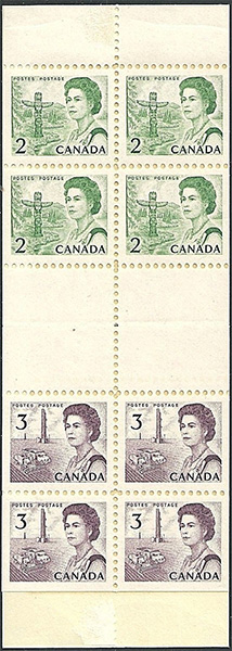 Queen Elizabeth II, Pacific Coast - 2 cents 1967 - Canadian stamp - 455a - Booklet pane of 4 + 4x3cents