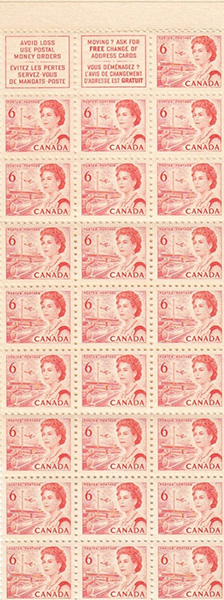 Reine Elizabeth II, Transport et télécommunication - 6 cents 1968 - Timbre du Canada - 459a - Booklet pane of 25 + 2 labels
