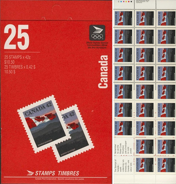 The Flag - 42 cents 1991 - Canadian stamp - 1356c - Booklet pane of 25 + 2 labels