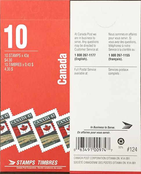 Le drapeau - 43 cents 1992 - Timbre du Canada - 1359a - Booklet pane of 10