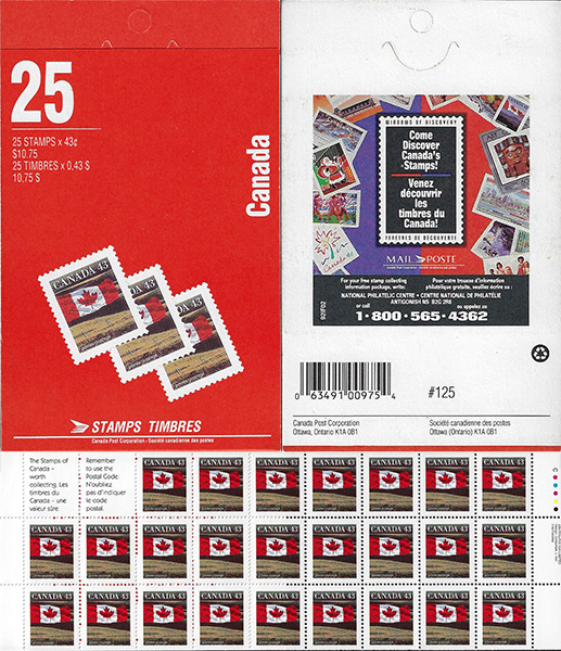 Le drapeau - 43 cents 1992 - Timbre du Canada - 1359b - Booklet pane of 25 + 2 labels