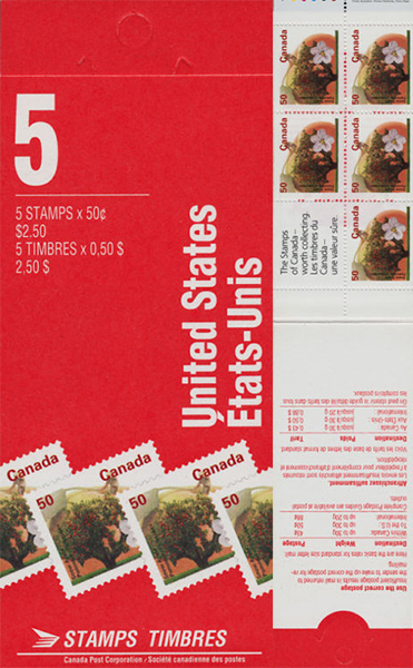 Pomme Fameuse - 50 cents 1994 - Timbre du Canada - 1365a - Booklet pane of 5 + label
