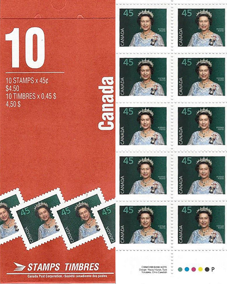 Queen Elizabeth II - 45 cents 1995 - Canadian Stamp - 1360a - Booklet pane of 10