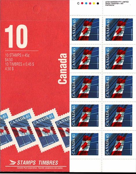 The Flag - 45 cents 1995 - Canadian stamp - 1361a - Booklet pane of 10