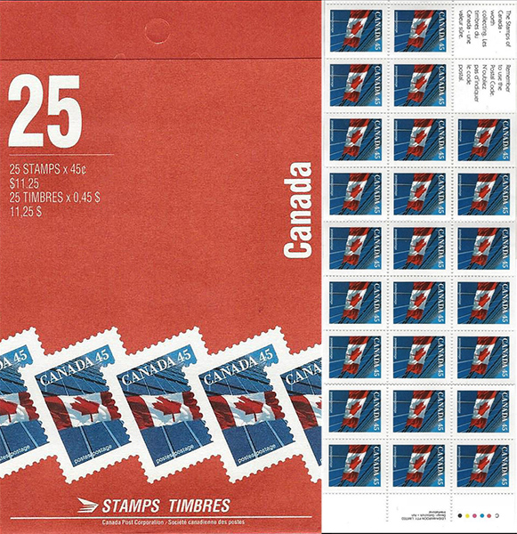 The Flag - 45 cents 1995 - Canadian stamp - 1361a - Booklet pane of 25 + 2 labels